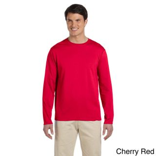 Gildan Mens Softstyle Cotton Long Sleeve T shirt Red Size XXL