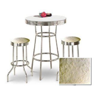 "Shop 36"" Tall Chrome Bar Table & 2 Lamb Wool Faux Fur Fabric Seat Barstools at the  Furniture Store"