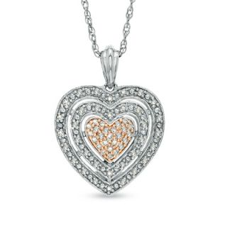 CT. T.W. Diamond Layered Heart Pendant in Two Tone Sterling Silver