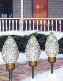 C7 Shaped Lighted LED Christmas Pathway Markers Lawn Stakes   Clear Lights  String Lights  Patio, Lawn & Garden
