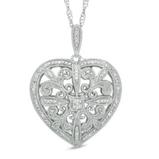 CT. T.W. Diamond Vintage Style Heart Pendant in Sterling Silver