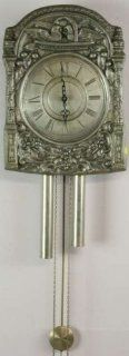 Vintage French Morbier Style Pewter Wall Clock Birds