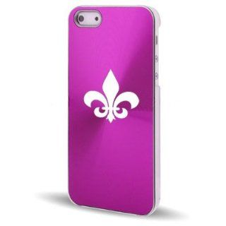 Apple iPhone 5 5S Hot Pink 5C566 Aluminum Plated Hard Back Case Cover Fleur de lis Cell Phones & Accessories
