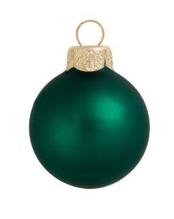 "40ct Matte Emerald Green Glass Ball Christmas Ornaments 1.25"" (30mm)"