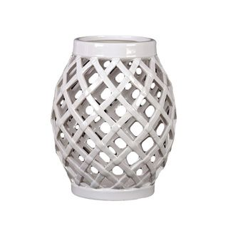 White Ceramic Lantern Urban Trends Collection Accent Pieces