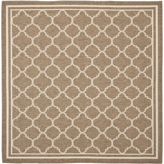 Safavieh Indoor/outdoor Courtyard Brown/bone Round Diamond Rug (710 Square)