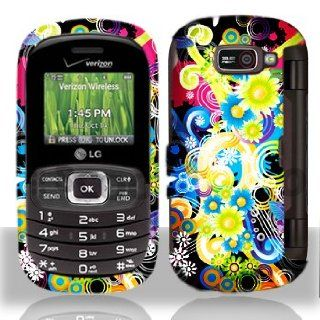 Premium   LG VN530/Octane Rubber Design Rainbow Flowers Cover   Faceplate   Case   Snap On   Perfect Fit Guaranteed Cell Phones & Accessories