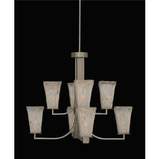 Toltec 578 gp 631 Apollo 8 Light Chandelier Shown In Graphite Finish With 5 Square Frosted Crystal Glass