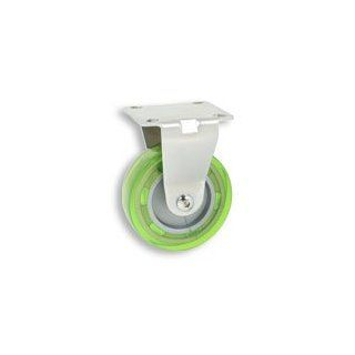 Cool Casters   Profile Caster, Apple Green Wheel, Satin Chrome Yoke, Fixed Plate No Brake   Item #200 75 APG SC FX NB Stem Casters