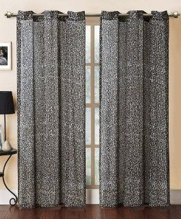 "Zebra Leopard Grommet Curtain Panels 90"" Animal Print Pink Black Brown Window Treatment (Leopard)"