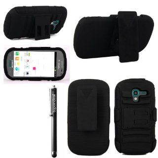 TopOnDeal TM Black/Black Hybrid 3pc Kickstand Belt Clip Holster Case Cover+Stylus Touch Pen For Samsung Galaxy Exhibit SGH T599 T Mobile /MetroPCS Phone Accessory. (Black/Black) Cell Phones & Accessories