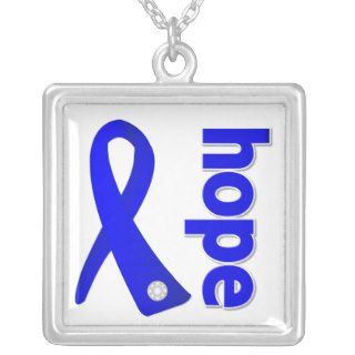 Anal Cancer Hope Blue Ribbon Personalized Necklace