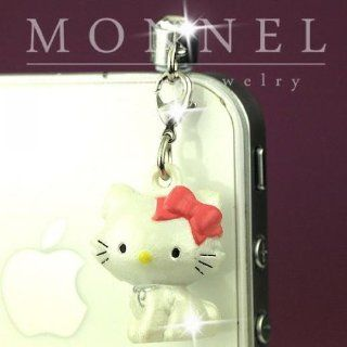 ip602 Luxury Hello Kitty 3D Charm Anti Dust Plug Cover For iPhone 4 4S Galaxy Cell Phones & Accessories