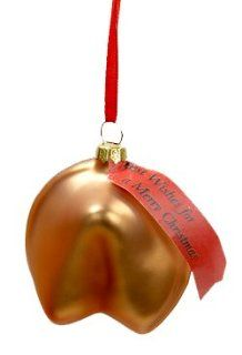"Asian Fusion Fortune Cookie ""Best Wishes for a Merry Christmas"" Glass Ornament   Decorative Hanging Ornaments"
