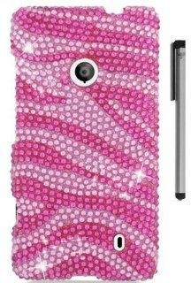 For Nokia Lumia 521 Zebra Design Full Diamond Hard Cover Case with ApexGears Stylus Pen (Pink) Cell Phones & Accessories