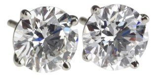 18k White Gold Round Diamond Stud Earrings (GIA Certified 4.05 cttw, F Color, SI1 Clarity) Jewelry