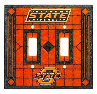 Oklahoma State Cowboys   NCAA Art Glass Double Switch Plate Cover  Table Lamps  Sports & Outdoors
