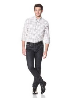 Viyella Men's Cotton Wool Blend Navy Tattersal Plaid Sport Shirt at  Men�s Clothing store
