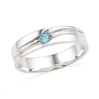 Mens Blue Topaz Ring in Sterling Silver   Zales
