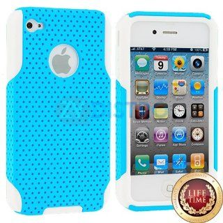 myLife (TM) Sky Blue + White Urban Armor (2 Piece Mesh Hybrid) Toughsuit Case for iPhone 4/4S (4G) 4th Generation Touch Phone (Thick Outer Shockproof Rubber + Soft Internal Silicone Gel + myLife (TM) Lifetime Warranty + Sealed In myLife Authorized Packagin
