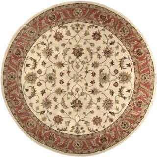 8' Fresnillo Raw Sienna Orange and Khaki Green Wool Round Area Throw Rug   Hand Tufted Rugs