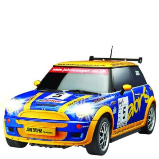 Race Tin   Mini Cooper   Blue/Yellow 128 scale      Traditional Gifts