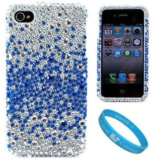 Silver with Blue Rhinestone Protective Two Piece Crystal Hard Case Cover for Verizon Wireless iPhone 4 (16GB, 32GB) 4th Generation and AT&T iPhone 4 + SumacLife TM Wisdom Courage Wristband Cell Phones & Accessories