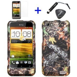 4 items Combo ITUFFY LCD Screen Protector Film + Mini Stylus Pen + Case Opener + Outdoor Wildlife Leaves Oak Wood Camouflage Design Rubberized Snap on Hard Shell Cover Faceplate Skin Phone Case for HTC OneV Cell Phones & Accessories