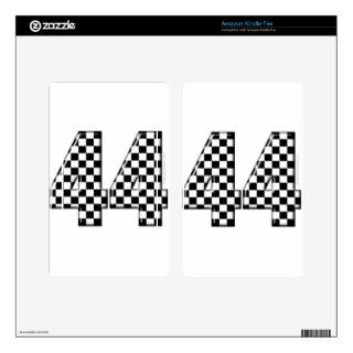 44 checkered number decal for kindle fire