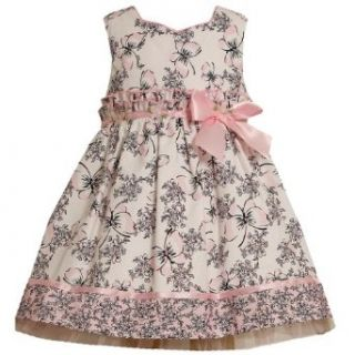 Size 2T, Black/White, BNJ 8038R, Black/White and Pink Butterfly Floral Toile Print Dress, Bonnie Jean Todders Flower Girl Easter Party Dress Playwear Dresses Clothing