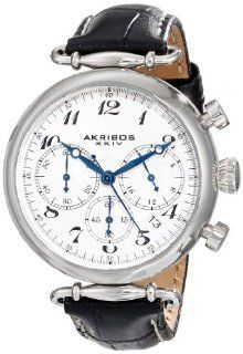 Akribos XXIV Women's AK630BK Retro Silver Tone Stainless Steel Black Leather Strap Watch at  Women's Watch store.