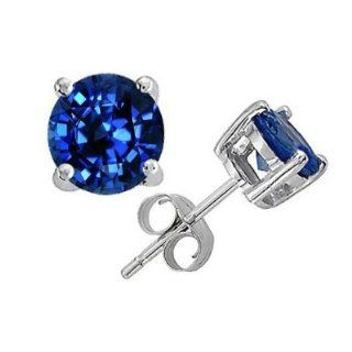4Ct Tw Sapphire Cubic Zirconia Diamond Rhodium Basket Setting (.925) Sterling Silver Stud Earrings (Nice Gift, Special Sale) Jewels Lovers Jewelry