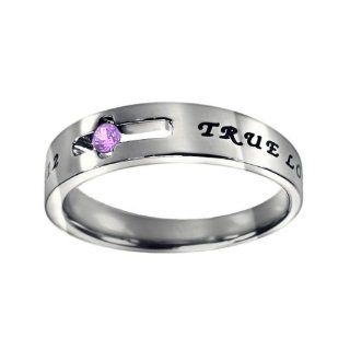 "Christian Women's Stainless Steel Abstinence Cutout Cross June Birthstone Light Amethyst Colored Cubic Zirconium Solitaire ""True Love Waits"" 1 Timothy 412 Comfort Fit Chastity Ring for Girls   Girls Purity Ring Jewelry"