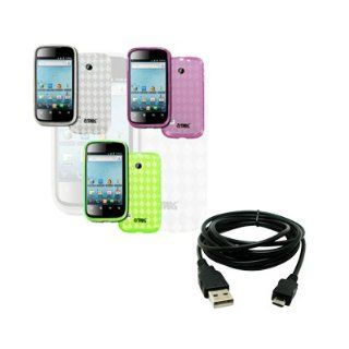 EMPIRE Huawei Ascend 2 M865 Pack of 3 Poly Skin Case Cover (Clear, Hot Pink, Neon Green) + USB 2.0 Data Cable [EMPIRE Packaging] Cell Phones & Accessories
