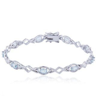 "Sterling Silver Blue Topaz Bracelet, 7.25"" Jewelry"