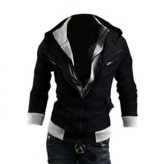 Men's Fashion Slim Fit Hoodie Casual Outerwear Zipper Closure Sweatshirt Clothing
