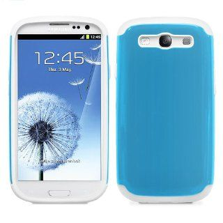 Fosmon Hybrid UV + Silicone Case for Samsung Galaxy SIII / S3   Sky Blue & White Electronics