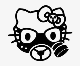"HELLO KITTY GAS MASK   6"" BLACK   Vinyl Decal Sticker   NOTEBOOK, LAPTOP, WALL, WINDOW, CAR, TRUCK, MOTORCYCLE Automotive"