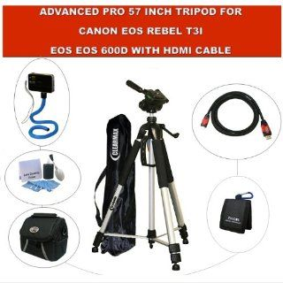 Advanced Pro 57 inch tripod for Canon EOS Rebel T3i, Canon EOS 600D with HDMI Cable, Case and Memory Card Wallet  Camera & Photo
