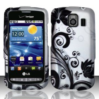 Black Flowers Hard Snap On Case Cover Faceplate Protector for LG Vortex VX660 + Free Texi Gift Box Cell Phones & Accessories