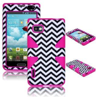 Bastex Heavy Duty Hybrid Case For LG Optimus F3 LS720 MS659 Hot Pink Silicone / White & Black Chevron Shell Cell Phones & Accessories