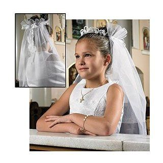 "Girls Tiara First Communion Veil, Boxed    Lace/silk Floral    25"" L, a Child's First Holy Communion Is One of the Most Important Events in Their Life. Help Her Make the Day Extra Special with One of Our Beautiful Elegant Tiara First Communion Vei"