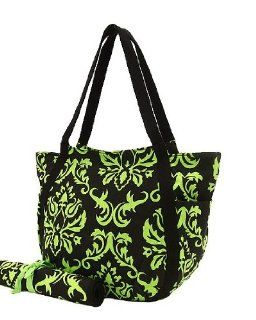 Damask Print Extra Large Diaper Bag Stunning Black & Lime Green  Baby