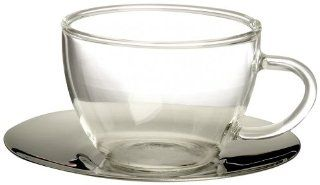 Bormioli Rocco H Drink Espresso Cups and Steel Saucers, Set of 4, Gift Boxed Kitchen & Dining