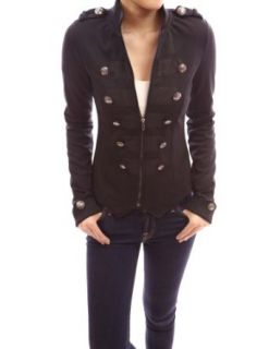 PattyBoutik Black Zip Front Long Sleeve Stand Collar Military Style Light Jacket Blazers And Sports Jackets