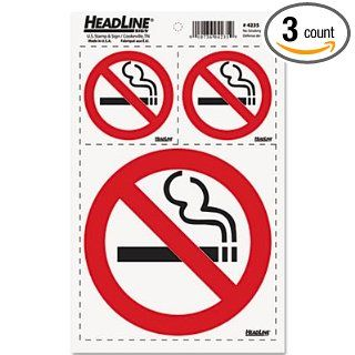 Headline Sign Self Stick No Smoking Combo Decal, 2 3X3 & 1 6X6, White/Red/Black