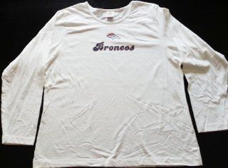 NFL Denver Broncos White Women's Long Sleeve T Shirt (1X)  Sports Fan T Shirts  Sports & Outdoors