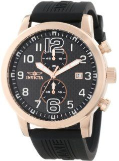 Invicta Men's 11242 Specialty Rose Gold Chronograph Black Carbon Fiber Dial Black Polyurethane Watch at  Men's Watch store.