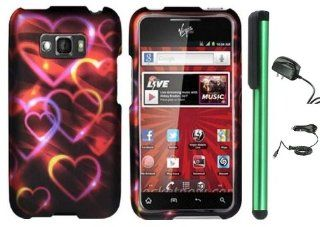 "Neon Colorful Heart On Black Design Protector Hard Cover Case for LG Optimus Elite LS696 (Sprint, Virgin Mobile) + Luxmo Brand Travel (Wall) Charger & Car Charger + Combination 1 of New Metal Stylus Touch Screen Pen (4"" Height, Random Color  Black"
