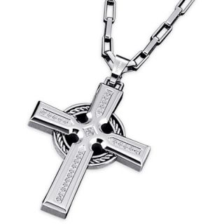 Triton Mens 1/6 CT. T.W. Diamond Cross Pendant in Stainless Steel and